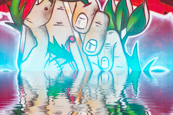 PhotoDune Abstract colorful graffiti reflection in the water 4133023