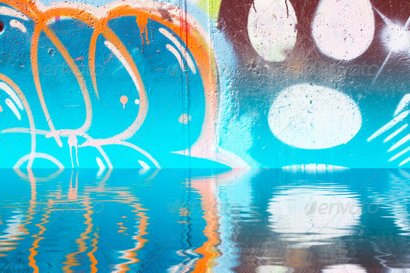PhotoDune Abstract colorful graffiti reflection in the water 4133029