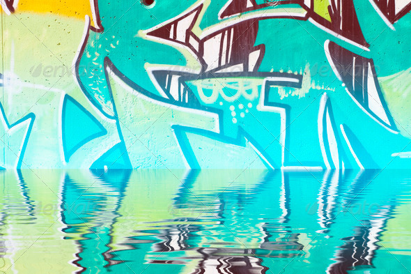 PhotoDune Abstract colorful graffiti reflection in the water 4133033