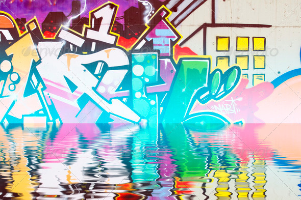 PhotoDune Graffiti reflection in the water artistic urban arrows 4133034
