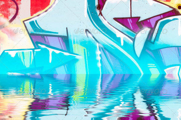 PhotoDune Abstract colorful graffiti reflection in the water 4133035