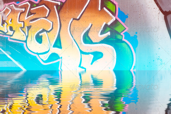 PhotoDune Abstract colorful graffiti reflection in the water 4133040