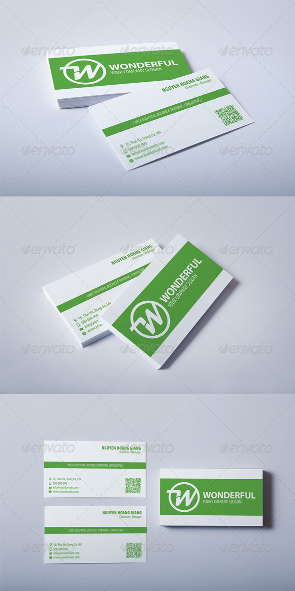GraphicRiver Wonderful Green Business Card 3922987
