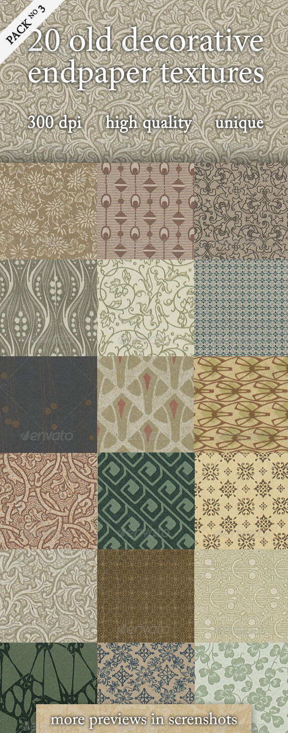 GraphicRiver 20 Old Decorative Endpaper Textures Pack 3 4128978