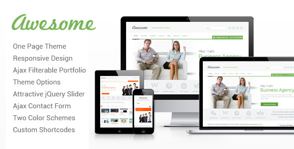 ThemeForest Awesome One Page WordPress Theme 3831389