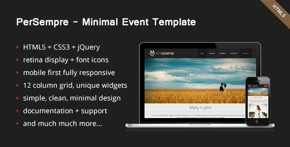 ThemeForest PerSempre Minimal Event Template 4114667