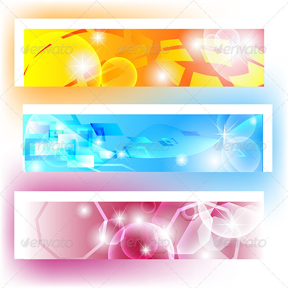 GraphicRiver Colourful Banners with Shapes and Shining 4130022
