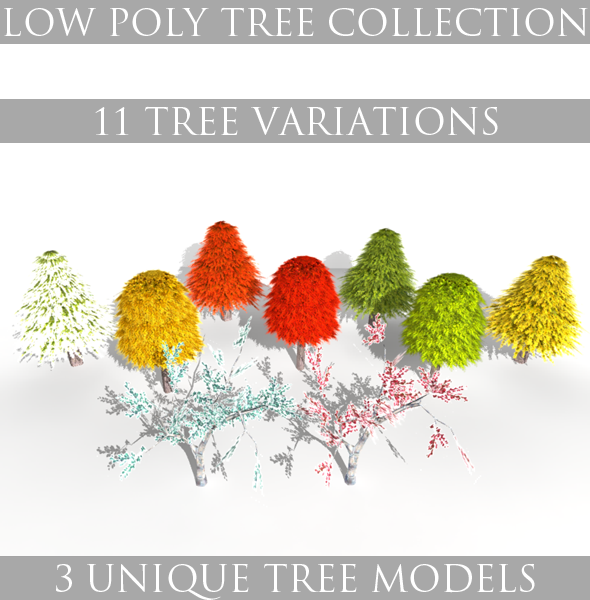 3DOcean Low Poly Tree Collection 4130093