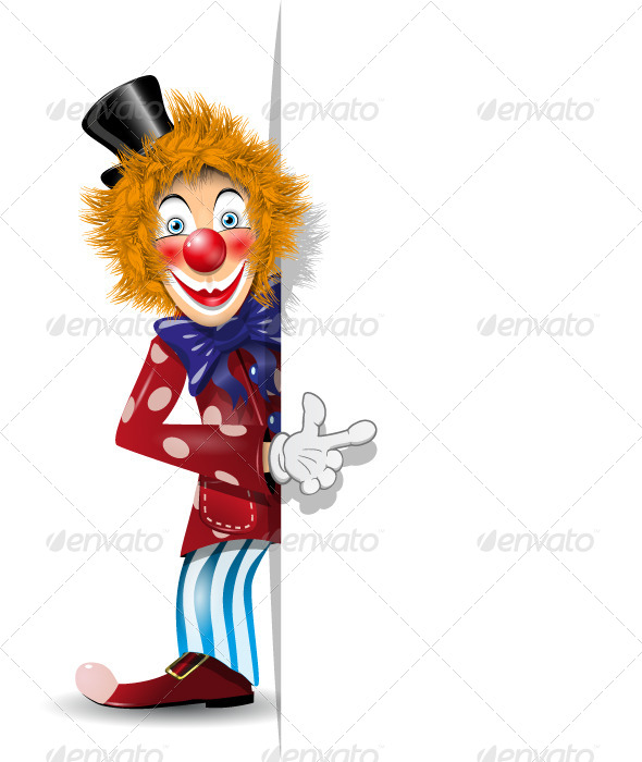 GraphicRiver Cheerful Clown and White Background 4130338