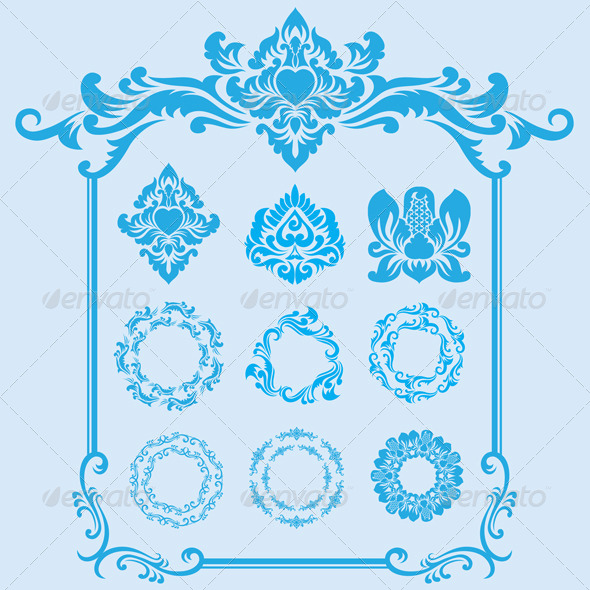 GraphicRiver Blue Frame Ornament 4131432