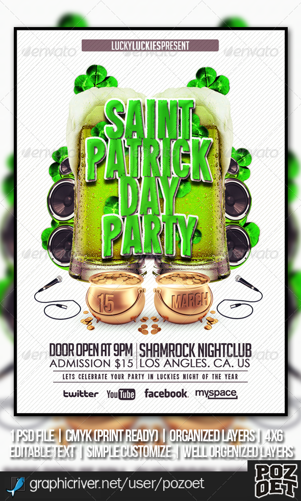 GraphicRiver Saint Patrick s Flyer Template 3993686