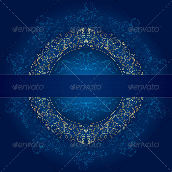 GraphicRiver Floral Gold Frame with Vintage Patterns on Blue 4132592