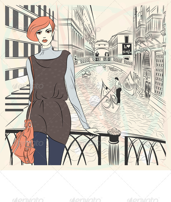 GraphicRiver Vector Fashion Girl on a Venice Background 4065990