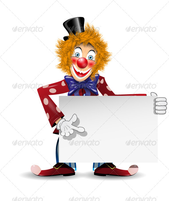 GraphicRiver Cheerful Clown with Card 4132651