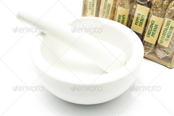 PhotoDune Different spices with porcelain mortar and pestle 4133261