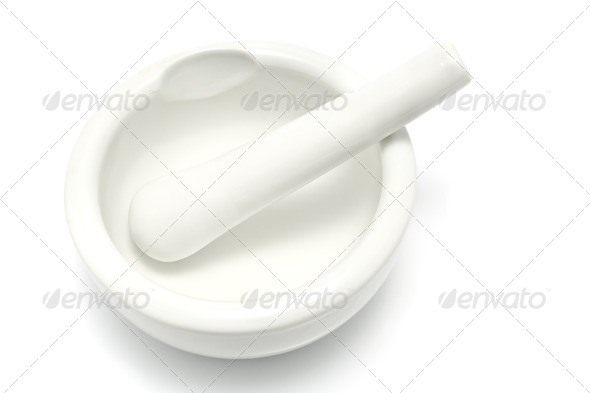 PhotoDune White porcelain mortar and pestle 4133269