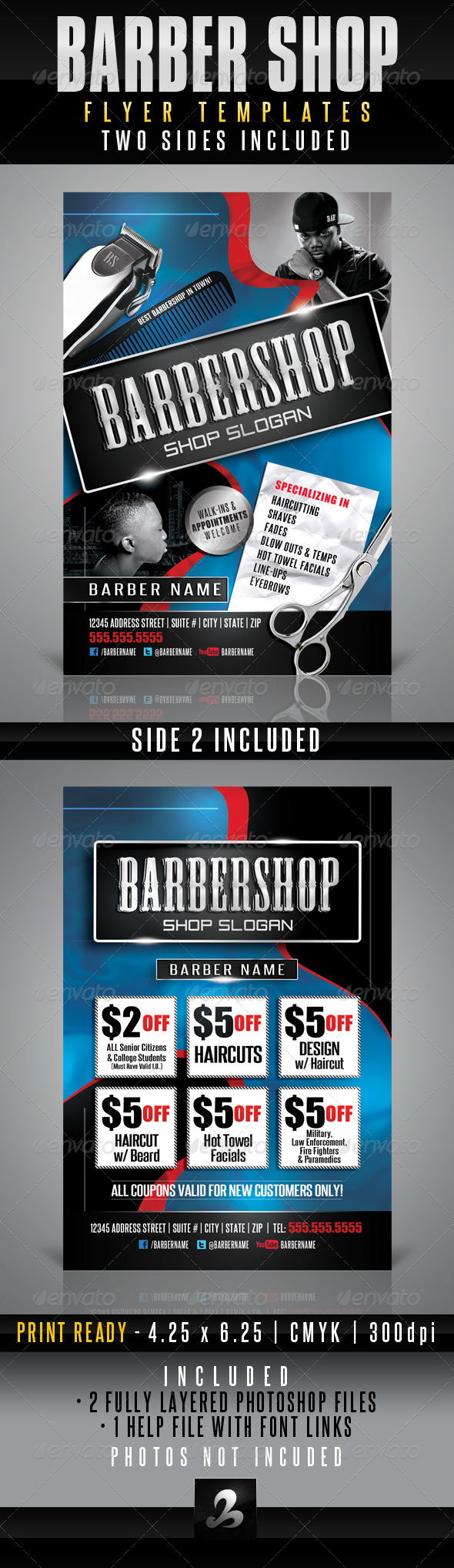 GraphicRiver Barbershop Flyer Templates 3151835
