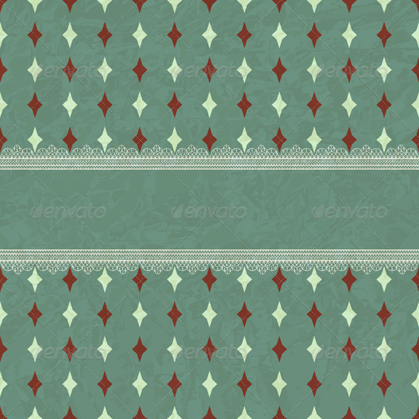 Vector Vintage Card with Lacy Borders - Patterns Decorative