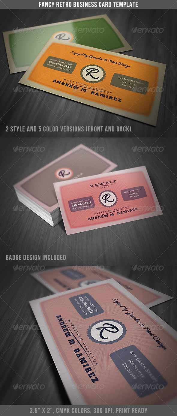 Fancy Retro Business Card - Retro/Vintage Business Cards