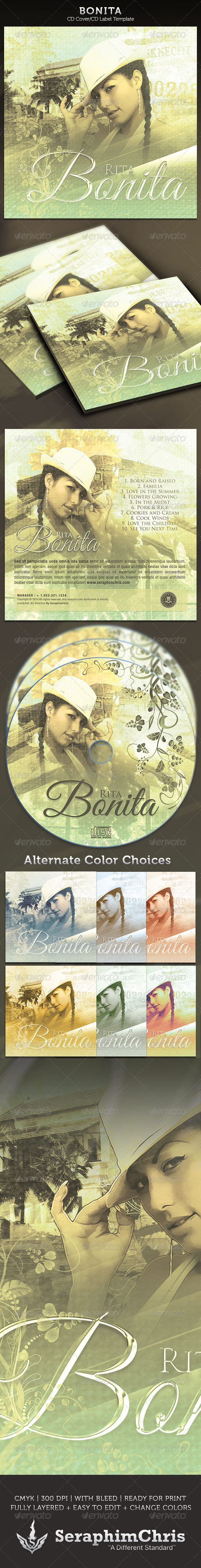 Bonita: CD Cover Artwork Template  - CD & DVD artwork Print Templates