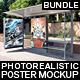 Bundle Realistic Bus Stop Flyer Poster Mockup