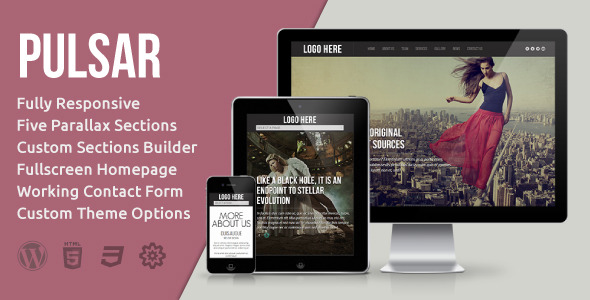 Pulsar - Fully Responsive Parallax WordPress Theme
