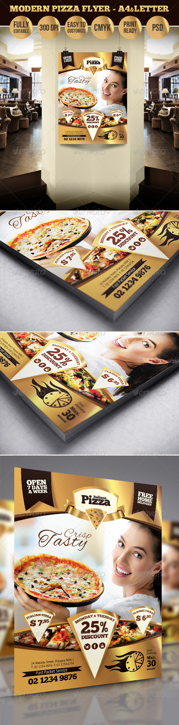 Modern Pizza Flyer - A4 & Letter Sizes - Restaurant Flyers