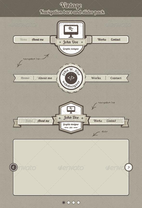 GraphicRiver Vintage Navigation Bars and Slider 4134575