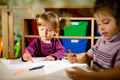Children and fun, two preschoolers drawing in kindergarten - PhotoDune Item for Sale