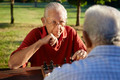Active retired people, two senior men playing chess at park - PhotoDune Item for Sale