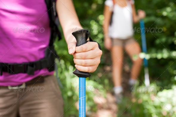 young women trekking in forest and holding stick - Stock Photo - Images