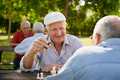 Active retired seniors, two old men playing chess at park - PhotoDune Item for Sale