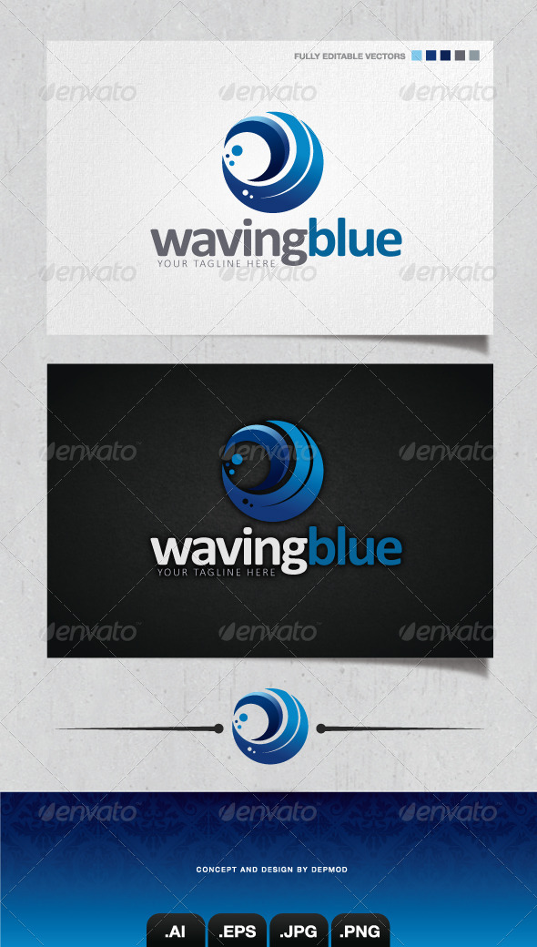 GraphicRiver Waving Blue Logo 4066013