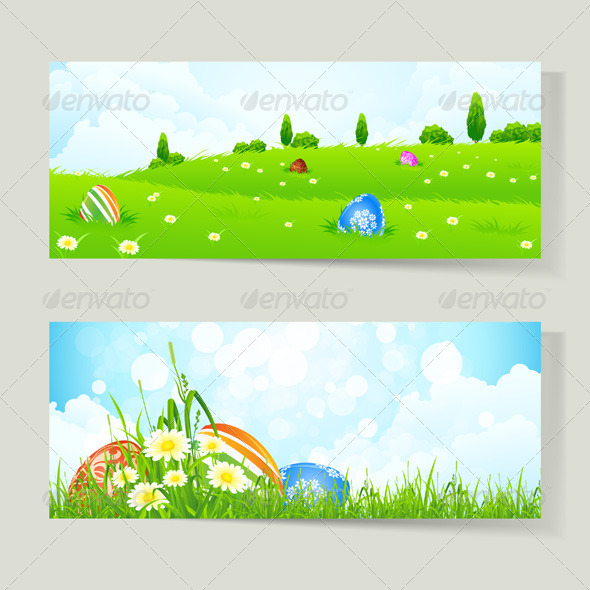 GraphicRiver Set of Easter Cards with Eggs 4134995