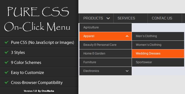 CodeCanyon Pure CSS On-Click Menu 4135014