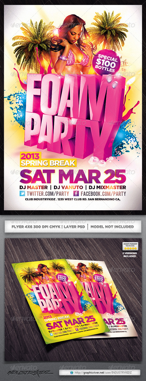 GraphicRiver Foam Party Flyer 4021044