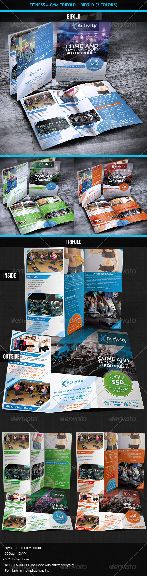 GraphicRiver Fitness & Gym Sports Bifold & Trifold 4135603