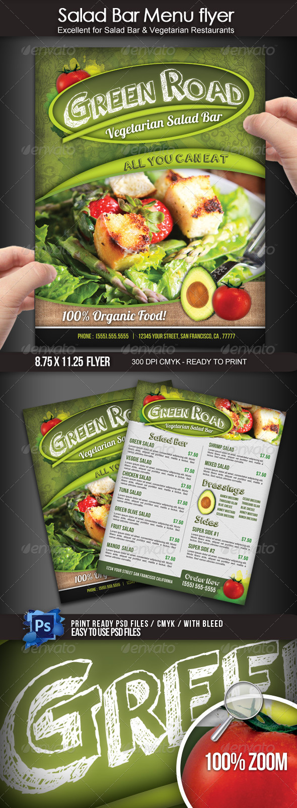 GraphicRiver Salad Bar Menu Flyer 3997792