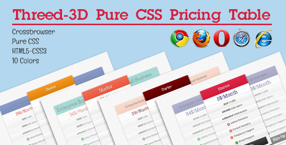 CodeCanyon Threed 3D Pure CSS Pricing Table 4135938