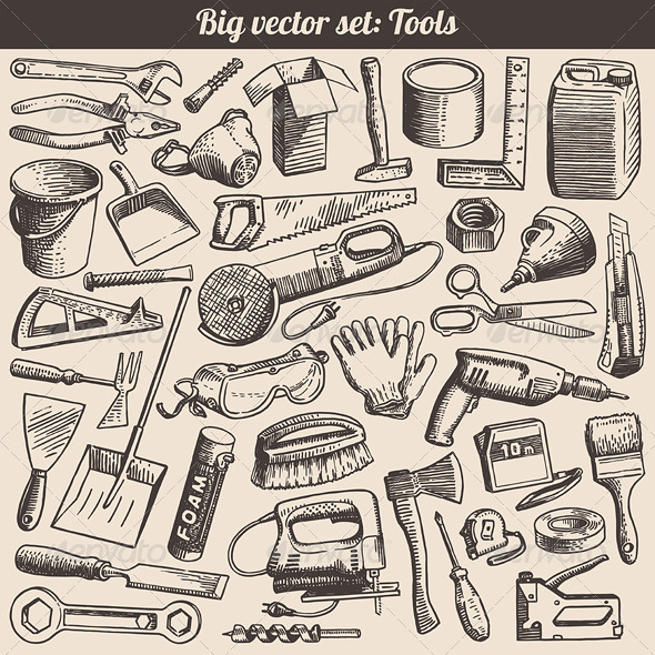 GraphicRiver Vector Doodles Collection of Working Tools 4136489