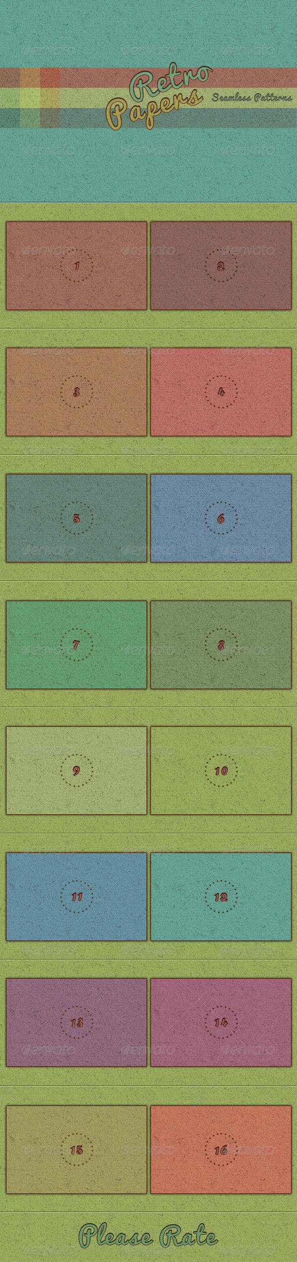 16 Seamless Retro Paper Texture Patterns - Textures / Fills / Patterns Photoshop