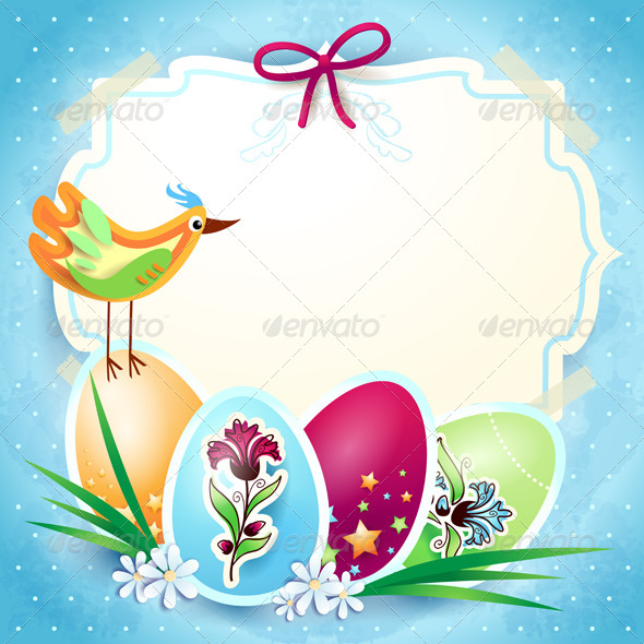 GraphicRiver Easter Background with Custom Label 4136974