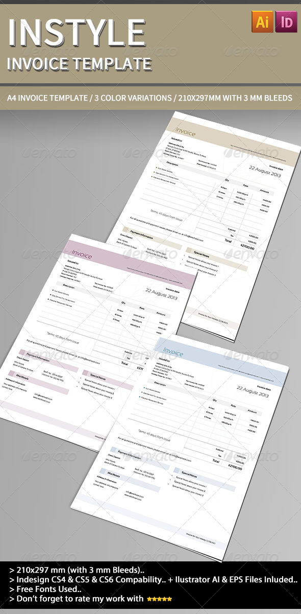 GraphicRiver Instyle Invoice Template. 4138213
