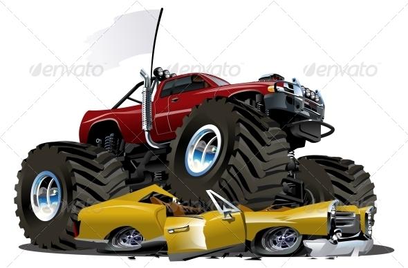 GraphicRiver Vector Cartoon Monster Truck 4138424