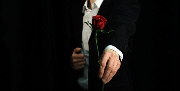 Gentleman Extending Hand With Red Rose By Vintervarg