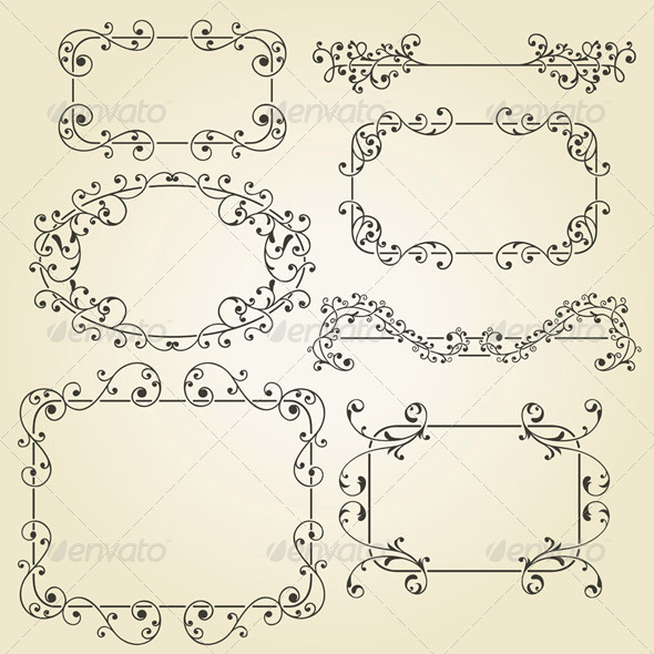 Lacy Vintage Floral Elements - Borders Decorative