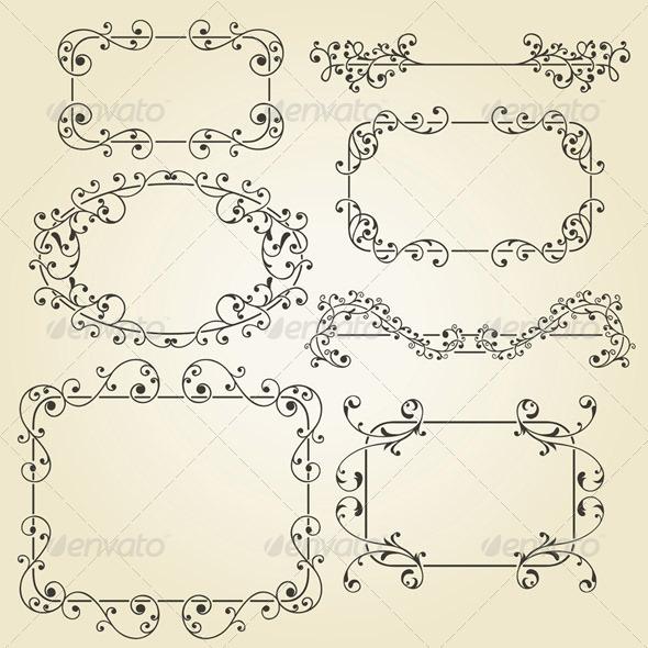 GraphicRiver Lacy Vintage Floral Elements 4139418