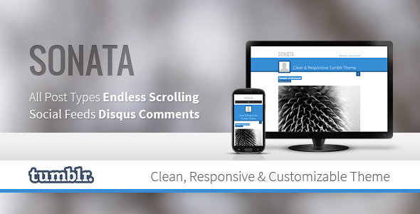 ThemeForest Sonata Clean Tumblr Theme 4084590