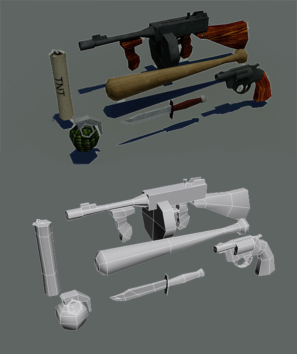 3DOcean Lowpoly gameready weapons pack 1930s 447542