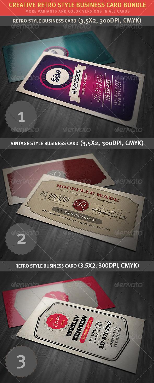 GraphicRiver Retro Business Card Bundle 4140282